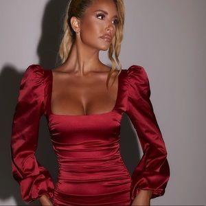 NWOT Ruched Puff Sleeve Satin Mini Dress